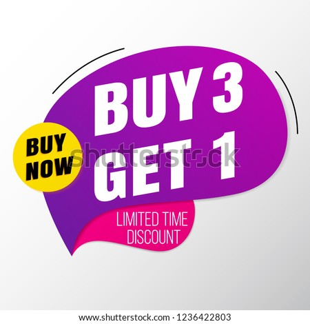 Buy 3 Get 1 sale banner template.