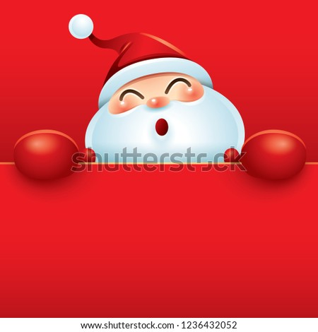 Santa Claus in red boxing glove with big blank signboard. #1236432052