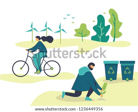 Vector flat illustration, young people go green, plant tree, cycle, saving the planet, World Environment Day, Bio technology, a green city flat simple Royalty-Free Stock Photo #1236449356