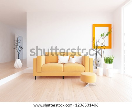 Idea of a white scandinavian living room interior with modern orange sofa, vases on the wooden floor and frame on the large wall and white landscape in window. Home nordic interior. 3D illustration #1236531406
