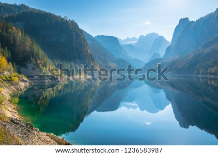 Beautiful autumn day in Vorderer Gosausee Lake - Gosau, Austria #1236583987