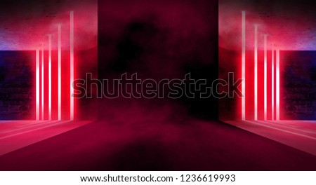 Background of an empty building with brick walls, illuminated by spotlights. View of open elevator doors. Neon light smoke. 3D rendering #1236619993