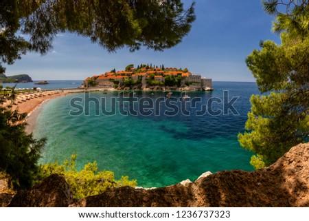 Sveti Stefan island in Budva in a beautiful summer day, Montenegro. #1236737323