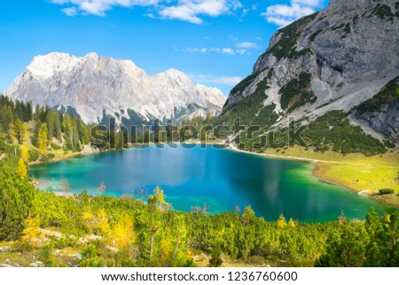 Wonderful autumn day in Seebensee Lake with  Zugspitze Mountain in the background - Ehrwald, Tyrol - Austria #1236760600