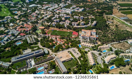 Aerial view of the coast Algarve, Portugal. Concept for above beach of Portugal. Summer vacations #1236835861