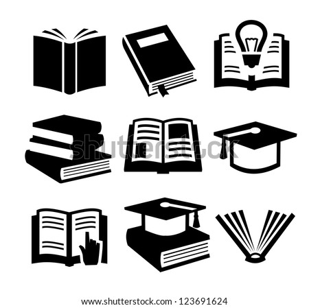 vector black book icons set on gray
