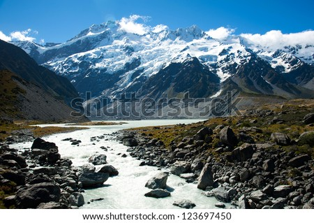 Beautiful view and glacier in Mount Cook National Park, South Island, New Zealand #123697450