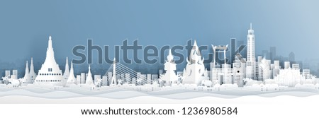 Panorama view of Thailand skyline with world famous landmarks in paper cut style vector illustration #1236980584