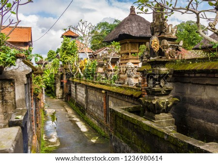 Shot of a narrow street in Ubud, Bali, Indonesia.  #1236980614