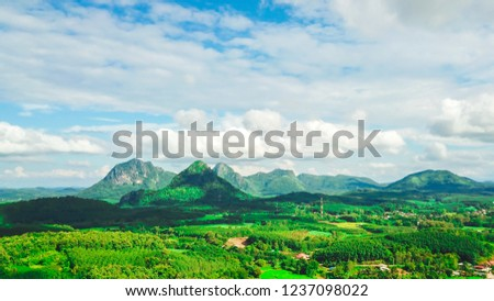 Landscape mountain and blue sky with clouds #1237098022