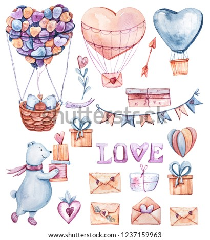 Illustration of lovely bears, balloons, gift boxes on white background. Hand painted watercolor clipart will be perfect for wedding invitations, party decorations, stickers, scrapbooking, patterns