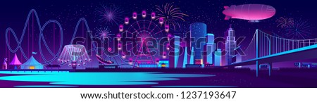 Vector urban concept background with night city illuminated with neon glowing lights. Festive cityscape with modern buildings, skyscrapers, amusement park with ferris wheel and firework on river bank Royalty-Free Stock Photo #1237193647