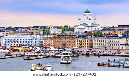Helsinki cityscape with Helsinki Cathedral, South Harbor and Market Square Kauppatori , Finland #1237207402