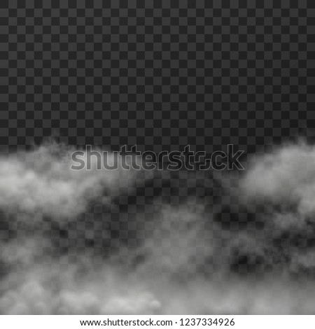 Vector illustration of white smoky clouds  on transparent background #1237334926