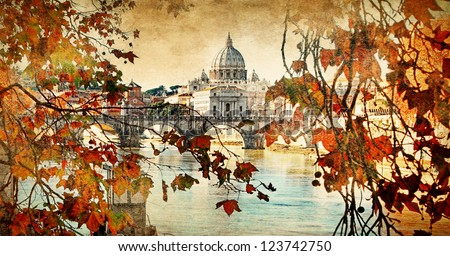 autumn in Rome, artistic vintage picture