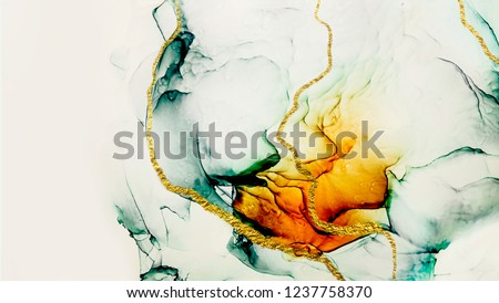 Transparent creativity. Abstract artwork. Trendy wallpaper. Ink colors are amazingly bright, luminous, translucent, free-flowing, and dry quickly. Natural pattern, luxury. Art&Gold.