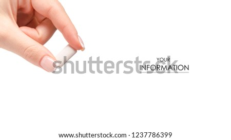 Chewing gum in hand pattern on white background isolation #1237786399