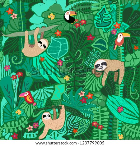 Seamless pattern with cute sloths hanging on jungle trees. Hand drawn adorable animal background. Rainforest illustration. Funny sloths, toucan, flowers, leaves. For fabric, paper, kids, room decor.