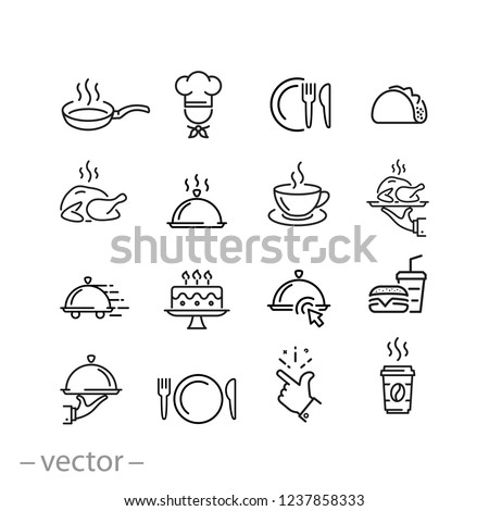 food icons set, line signs on white background - editable vector illustration eps10 Royalty-Free Stock Photo #1237858333