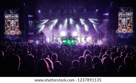 Tolmin, Slovenia - July 28th 2017: German extreme metal band Heaven Shall Burn performs on stage at Metaldays Festival 2017, Tolmin, Slovenia #1237891135