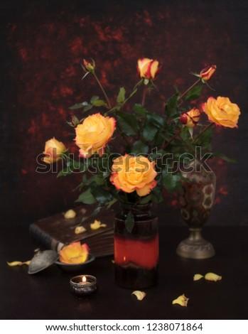 orange roses and old vintage decor #1238071864