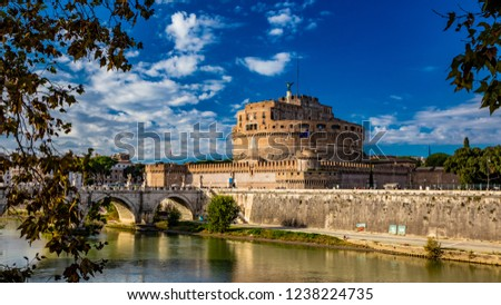 The Mausoleum of Roman Emperor Hadrian, usually known as Castel Sant'Angelo, with the eponymous bridge and the river Tiber, in Rome, near the Vatican. It was used by the popes as a fortress and castle #1238224735