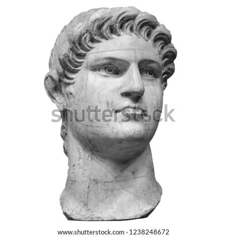 Portrait of roman emperor Nero Claudius Caesar Augustus Germanicus isolated on white background.