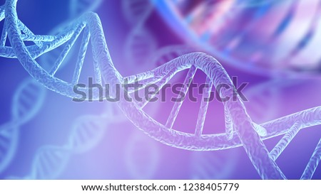 Blue DNA structure isolated background. 3D illustration #1238405779
