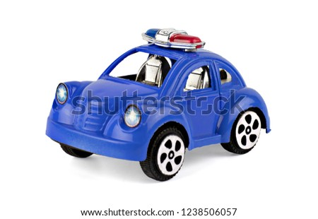 Police car toy plastic blue isolated on white background with clipping path.