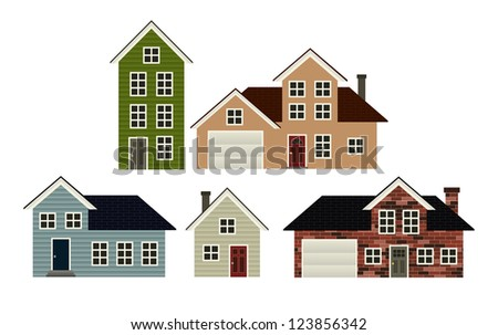 A set of 5 simple stylized house illustrations. Raster.