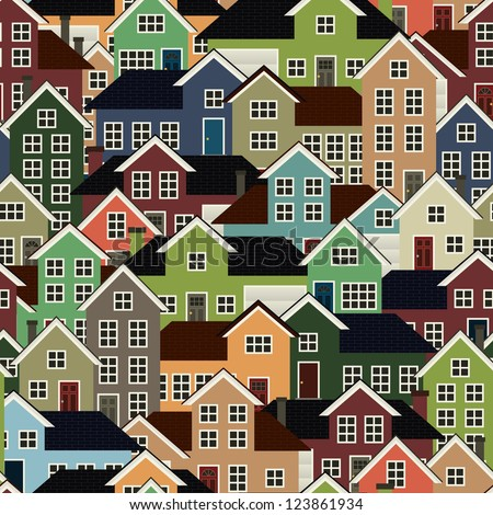 A seamlessly repeatable background depicting a crowded residential neighborhood. Raster.