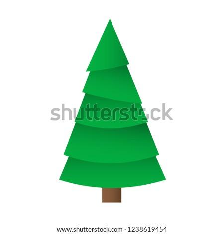 Creative Christmas tree card. Vector origami #1238619454