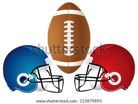 Raster version Illustration of a football design with helmets.