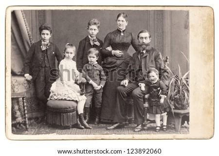 old family photo. parents with five children. nostalgic vintage picture. Vienna 1885
