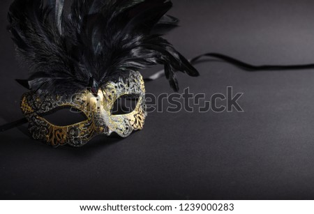 Carnival time. Venetian mask with feathers on black background, copy space #1239000283