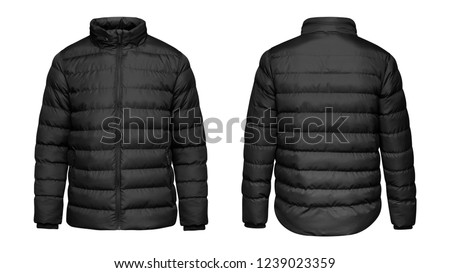 Blank template black down jacket with zipped, front and back view isolated on white background. Mockup winter sport jacket  Royalty-Free Stock Photo #1239023359