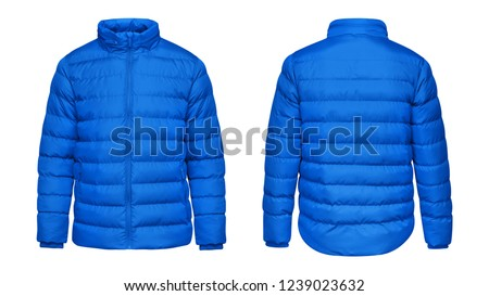 Blank template blue down jacket with zipped, front and back view isolated on white background. Mockup winter sport jacket  Royalty-Free Stock Photo #1239023632