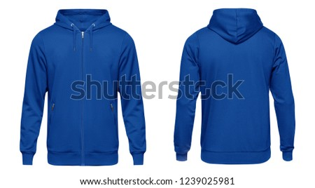 Blank blue male hoodie sweatshirt long sleeve with clipping path, mens hoody with zipped for your design mockup for print, isolated on white background. Template sport winter clothes. #1239025981