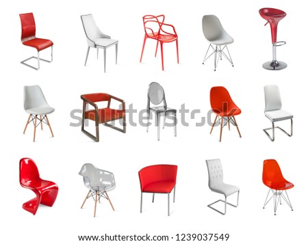 Set of different chair furniture. Collage of side and front views of chairs #1239037549