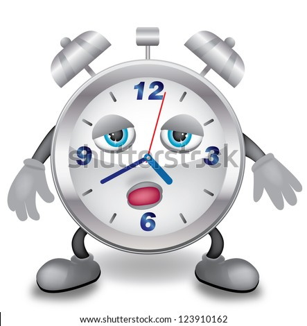 Illustration of metal clock with hands, feet and sleepy face