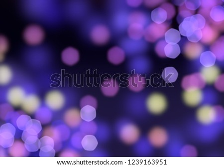 2d illustration. Christmas eve time. Abstract texture. Colorful. Defocused dots background. Blurred bright light. Circular bokeh points. Lights in the dark. #1239163951