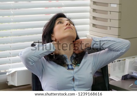 Tired Neck. Social worker. Office worker Woman Suffering From Neck Pain. Female Feeling Tired, Exhausted, Stressed. Girl Massaging Painful Neck With Hands. Body And Health Care Concept. #1239168616