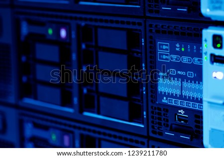 Server stack with hardrive in the data center #1239211780