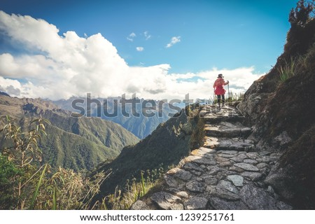 A female hiker is walking on the famous Inca trail of Peru with walking sticks. She is on the way to Machu Picchu. Royalty-Free Stock Photo #1239251761