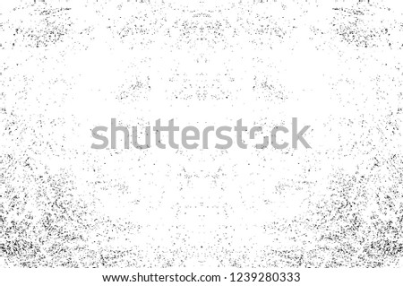 Black And White Distressed Grunge Vector Overlay Template. Dark Paint Weathered Texture. Abstract Dirty Creative Design Backdrop Element  #1239280333