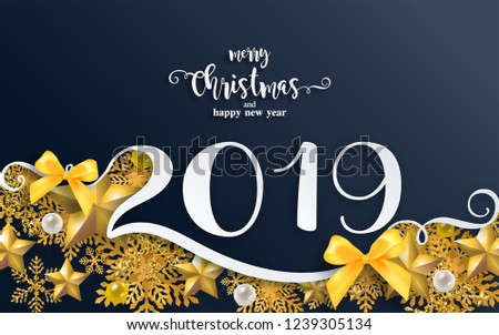 Merry christmas greetings and Happy new year 2019 templates with beautiful winter and snowfall patterned paper cut art and craft style on paper color background. #1239305134