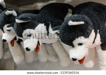 Cuddly soft toys of husky dogs from the kids shop for sale in a gift shop #1239360556