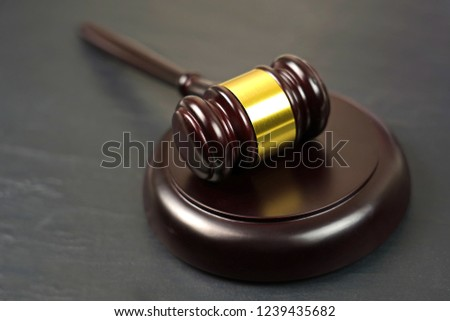 Wooden judgement or auction mallet. Conceptual image.