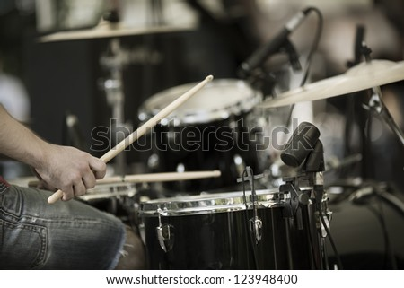 a drummer on the rock concert #123948400