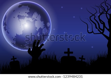 Halloween background with the dark night  full moon, zombie hands, tombstone ,silhouettes of flying bats.Vector illustration. #1239484231